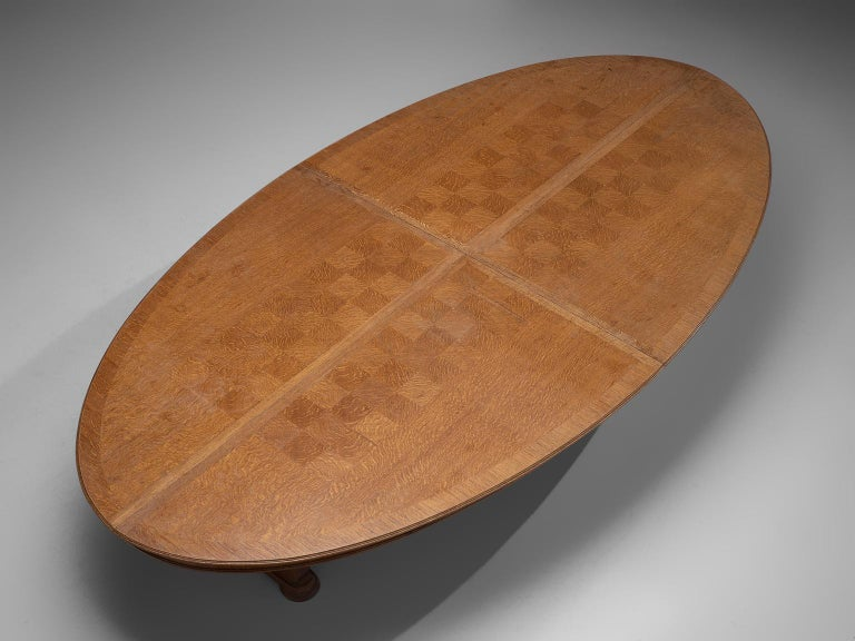 Oak Large Oval Table in Walnut with Inlayed Top  For Sale