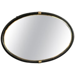 Large Oval Torch-On Frame Wall Mirror Brass, Italy, 1950s