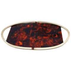 Large Oval Tray in Lucite Tortoise and Brass, Italy