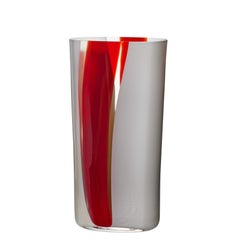 Large Ovale Vase in Red, White, and Grey by Carlo Moretti
