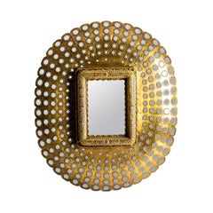 Large Ovale Wood And Brass Mirror