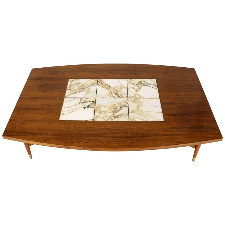 Marquetry Marble Coffee Table: Large Oversize Boat Shape Rosewood And Walnut Coffee Table