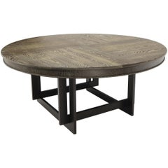 Large Oversize in Diameter Round Cerused Limed Oak Dining Table