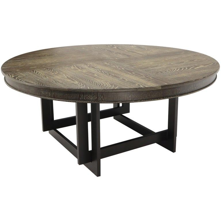 Large Oversize In Diameter Round Cerused Limed Oak Dining Table For