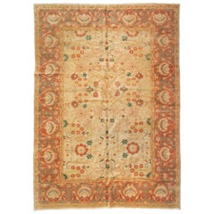 Large Oversize Ivory Green Coral Orange Egyptian Rug Persian Sultanabad Design