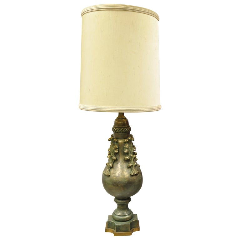 Large Oversize Marbro Italian Ceramic Pottery Leafy Scroll Table Lamp For Sale