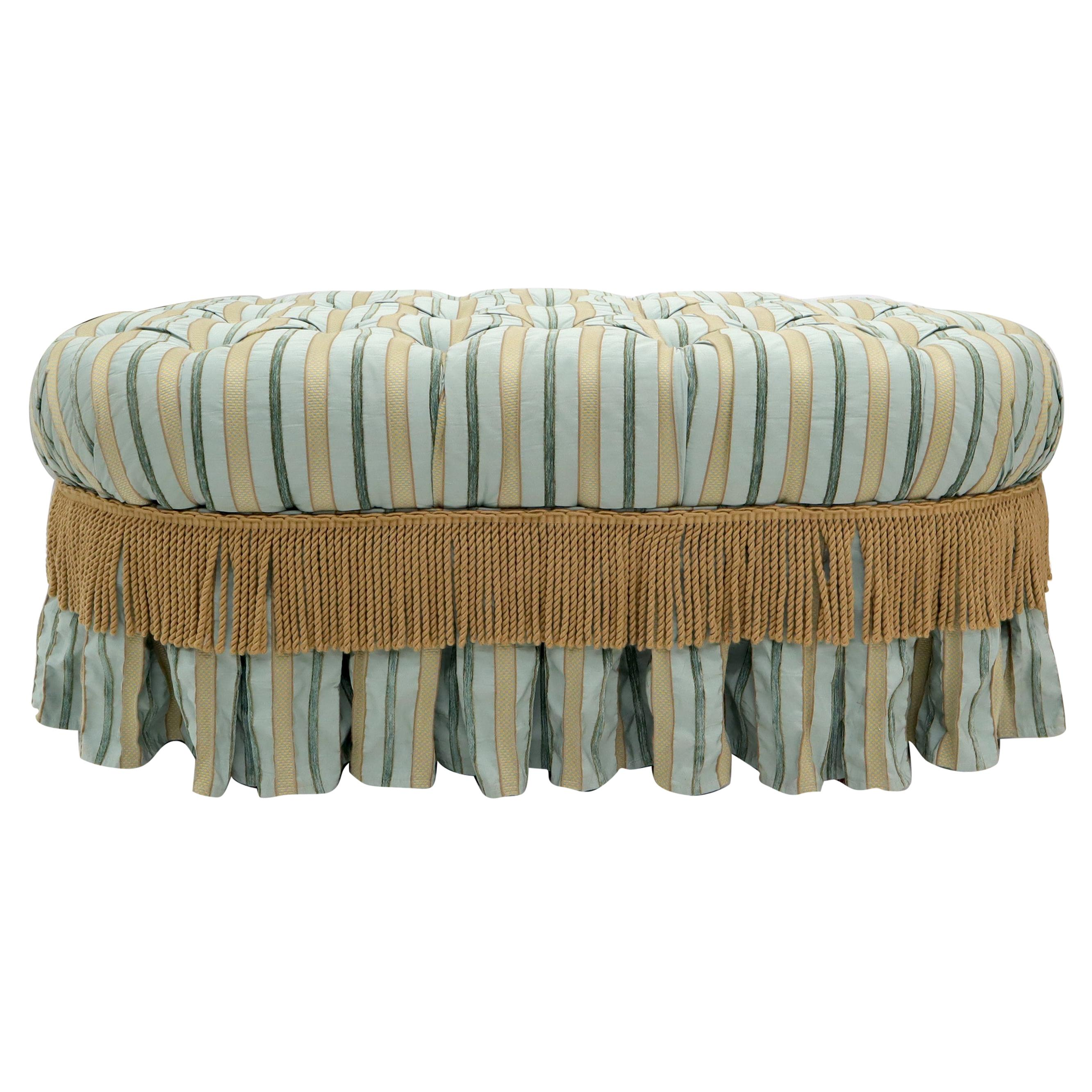 Large Oversize Oval Tufted Upholstery Ottoman Bench