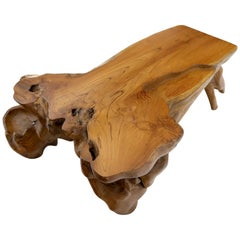 Large Oversize Solid Teak Live Edge Coffee Table