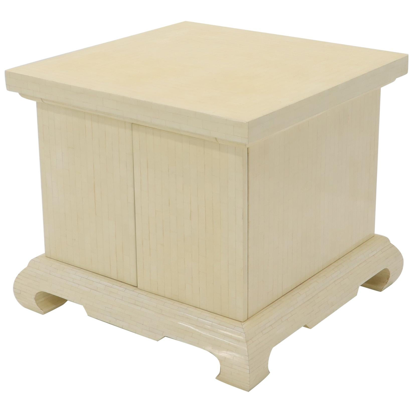 Large Oversize Tessellated Bone Accent Stand Cabinet Side End Table