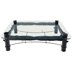 Large Oversize Thick Glass Top Rectangle Coffee Table with Singing Birds