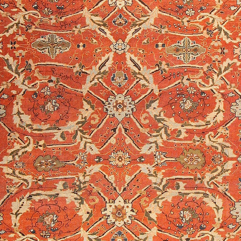 Beautiful Large Oversized Antique Persian Rust Color Sultanabad Rug, Persia, Late 19th Century. Size: 14 ft 5 in x 21 ft 9 in (4.39 m x 6.63 m)  This antique Persian Sultanabad rug was woven during the late 19th century and features a traditional