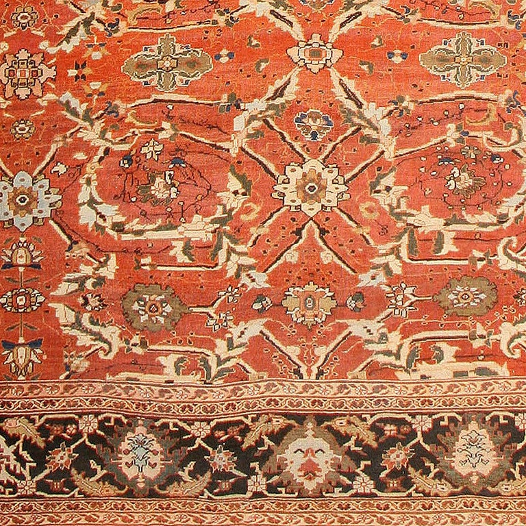 Hand-Knotted Large Oversized Antique Persian Rust Colored Sultanabad Carpet For Sale