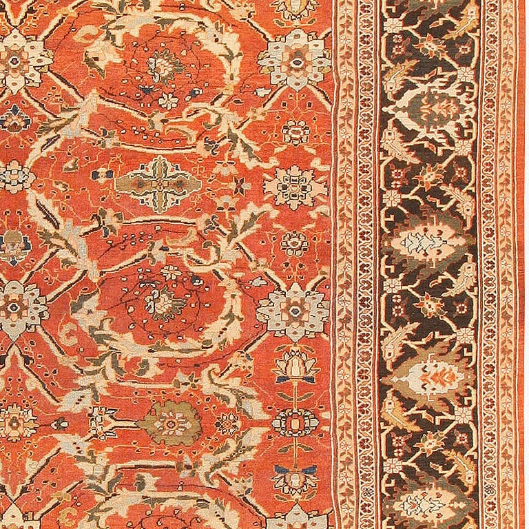 Large Oversized Antique Persian Rust Colored Sultanabad Carpet In Good Condition For Sale In New York, NY