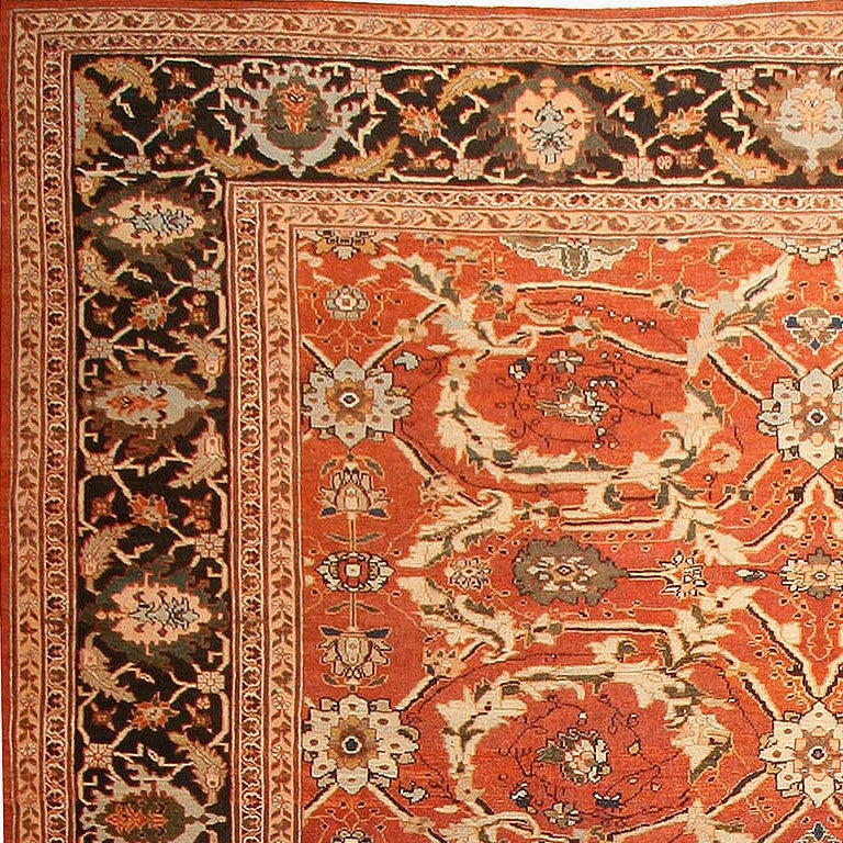 19th Century Large Oversized Antique Persian Rust Colored Sultanabad Carpet For Sale