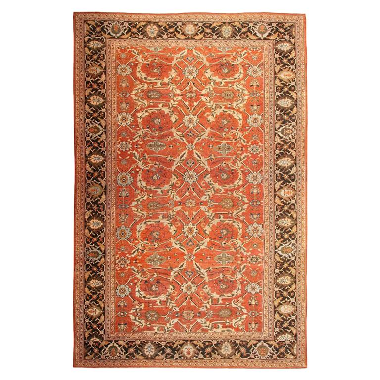 Large Oversized Antique Persian Rust Colored Sultanabad Carpet For Sale