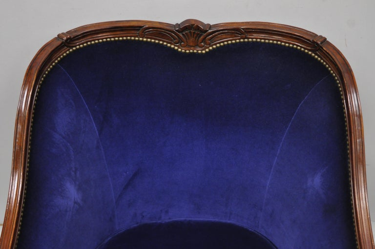 North American Large Oversized Beacon Hill Henredon Blue French Louis XV Style Lounge Armchair