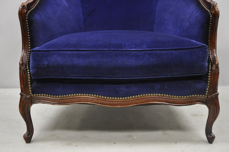20th Century Large Oversized Beacon Hill Henredon Blue French Louis XV Style Lounge Armchair