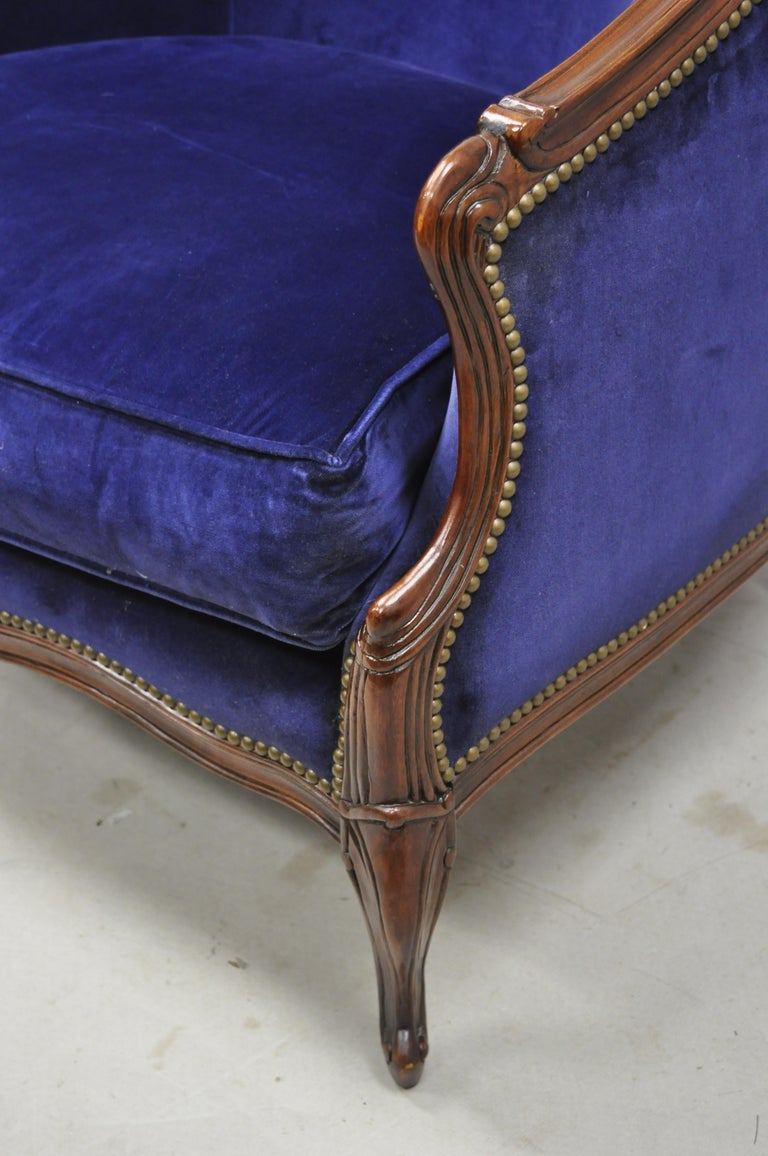 Fabric Large Oversized Beacon Hill Henredon Blue French Louis XV Style Lounge Armchair