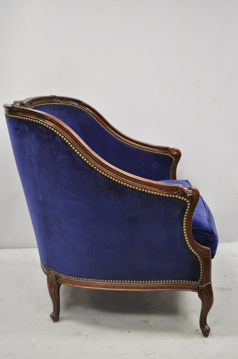 Large Oversized Beacon Hill Henredon Blue French Louis XV Style Lounge Armchair 1
