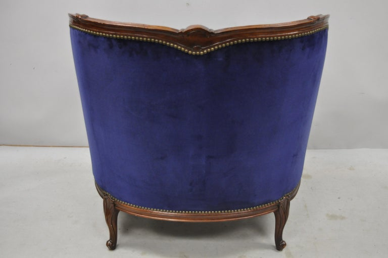 Large Oversized Beacon Hill Henredon Blue French Louis XV Style Lounge Armchair 2