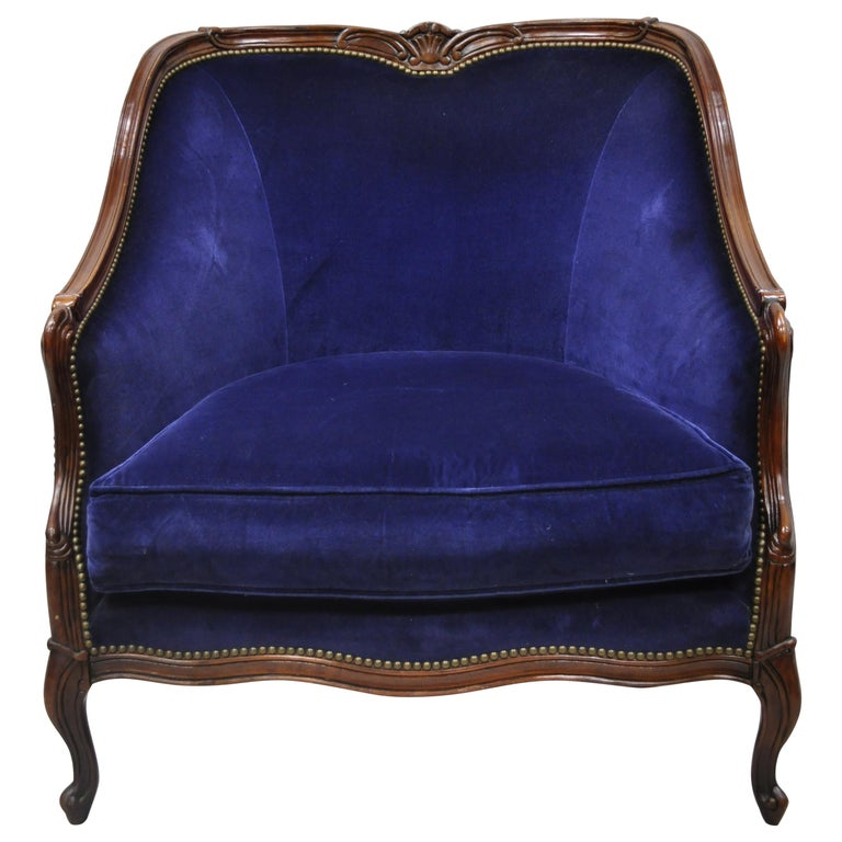 Large Oversized Beacon Hill Henredon Blue French Louis XV Style Lounge Armchair