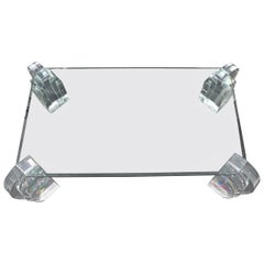 Large Oversized Lucite Base Glass Top Base Coffee Table Rectangular Cut Corner
