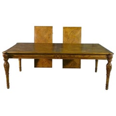 Large Oversized Oak Parquet Top Carved Louis XV Style Dining Table