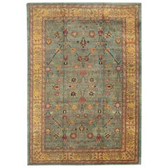 """Large Oversized Seafoam Colored Antique Indian Agra Rug. Size: 15' 10"""" x 23'"""