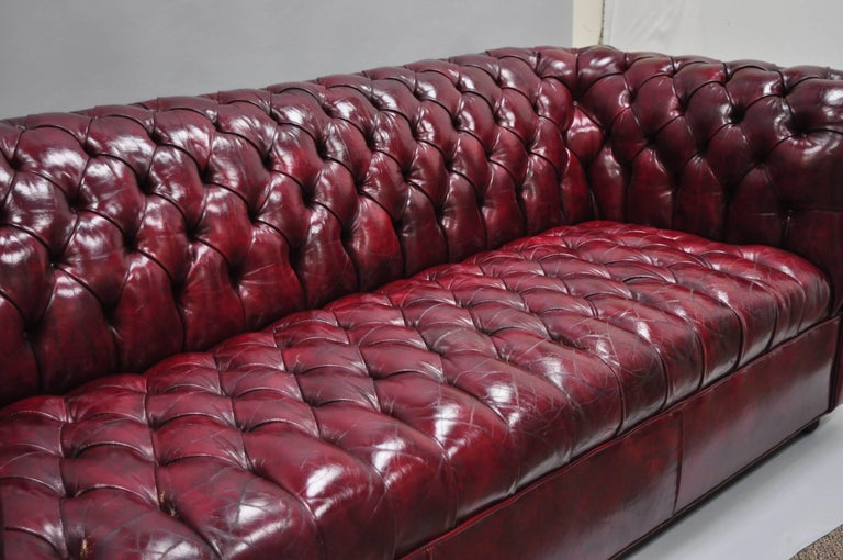 Large Oxblood Burgundy Red Leather Button Tufted Chesterfield Sofa For Sale 6