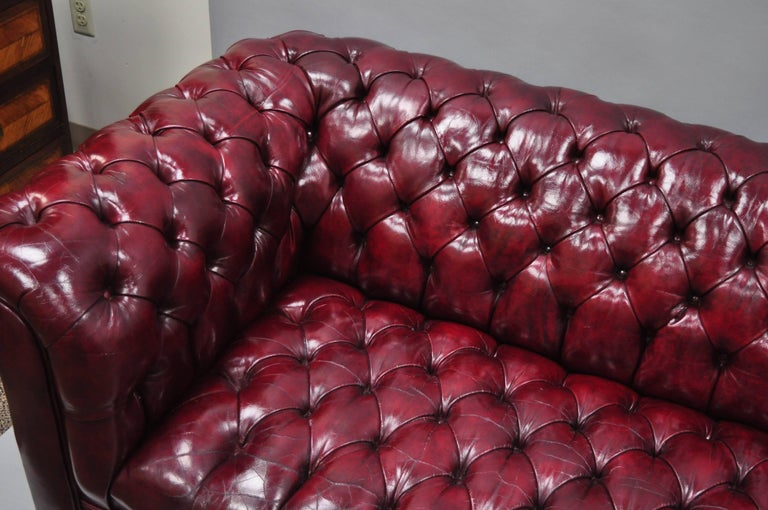 Late 20th Century Large Oxblood Burgundy Red Leather Button Tufted Chesterfield Sofa For Sale