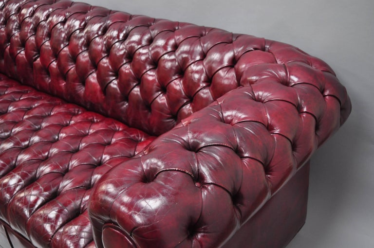 Large Oxblood Burgundy Red Leather Button Tufted Chesterfield Sofa For Sale 2