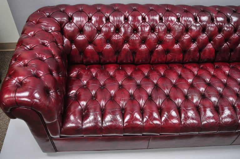 Large Oxblood Burgundy Red Leather Button Tufted Chesterfield Sofa For Sale 3