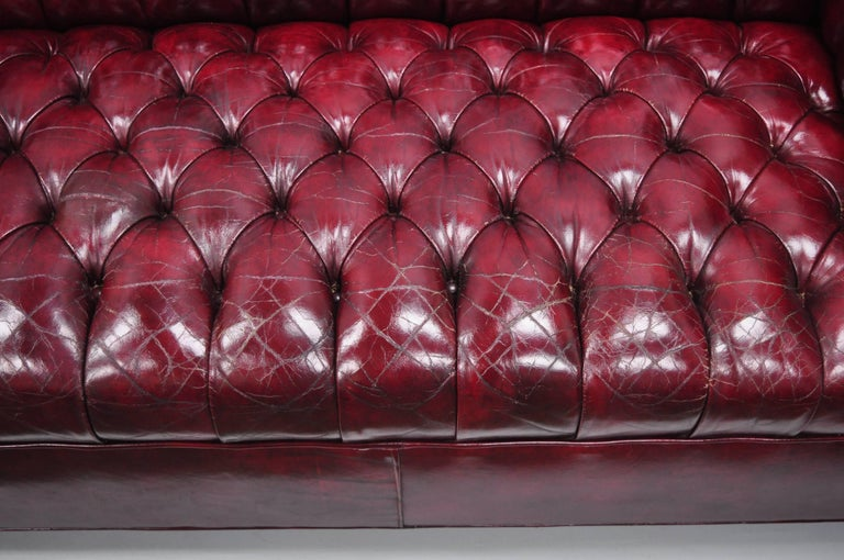 Large Oxblood Burgundy Red Leather Button Tufted Chesterfield Sofa For Sale 4