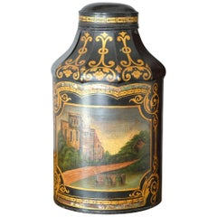 Large Pagoda Style Toleware Tea Canister Black Hand Painted 19th Century English