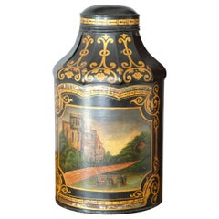 Large Pagoda Style Toleware Tea Canister, Black, Hand Painted, 19th Century