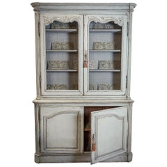 Large Painted 19th Century Bookcase or Buffet de Corps
