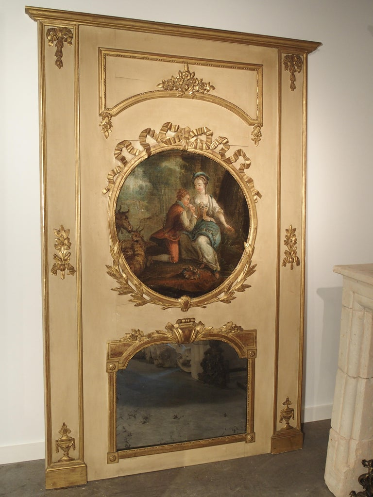 Large Painted Antique Louis Xvi Style Trumeau Mirror 19th