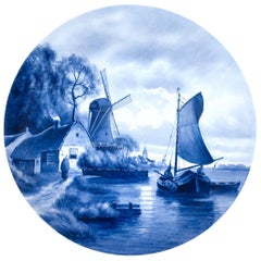 Large Painted Blue and White Delft Charger