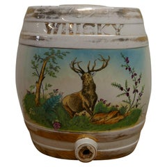 Large Painted Ceramic Scotch Whiskey Barrel, Stag at Bay