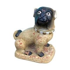 Late 19th Century Continental Heavily Glazed Terracotta Pug