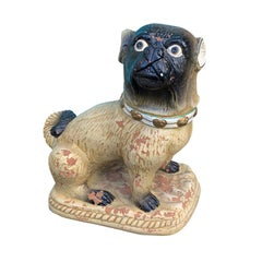 Large Painted Terracotta Pug, circa 1930