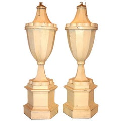 Large Painted Tole Lamps