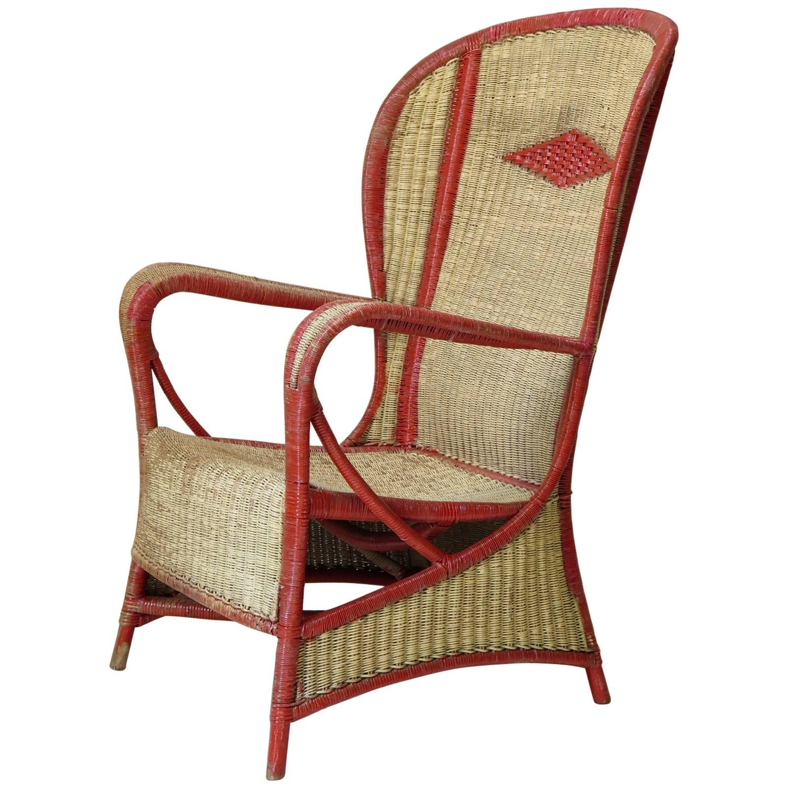 Large Painted Wickerwork Wingback Armchair, circa 1920s
