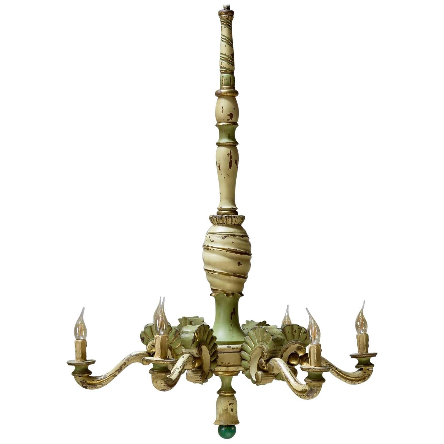 Large Painted Wood Chandelier, France, circa 1920s