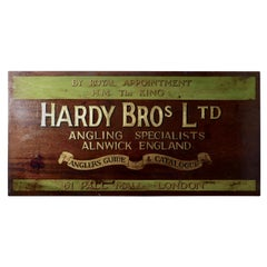 Large Painted Wooden Advertising Sign, Hardy Bros Ltd, Angling Specialists