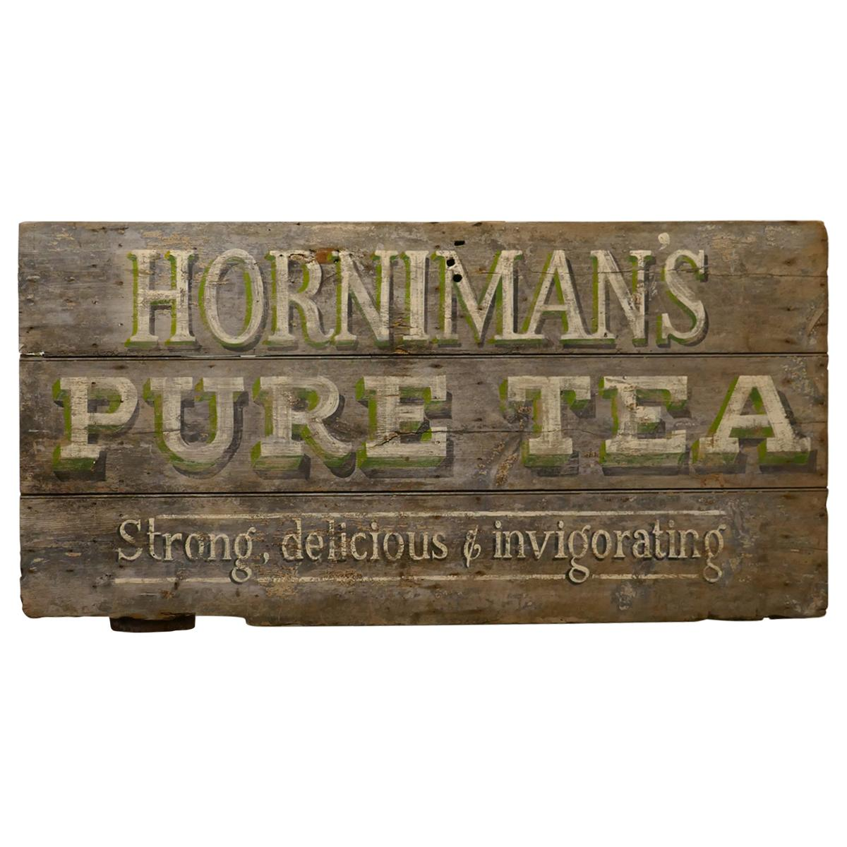 """Large Painted Wooden Advertising Sign, """"HORNIMAN'S PURE TEA"""""""