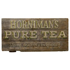 "Large Painted Wooden Advertising Sign, ""HORNIMAN'S PURE TEA"""