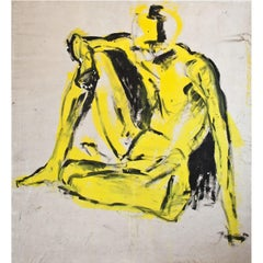 Large Painting of an Abstract Nude, End of 20th Century
