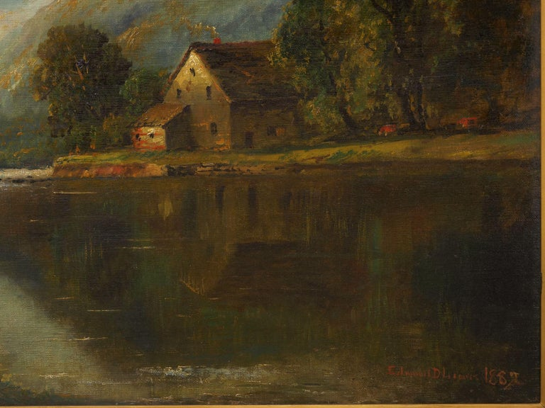 Large Painting of 'River Landscape' by Edmund Darch Lewis American, 1835-1910 In Good Condition For Sale In Shippensburg, PA