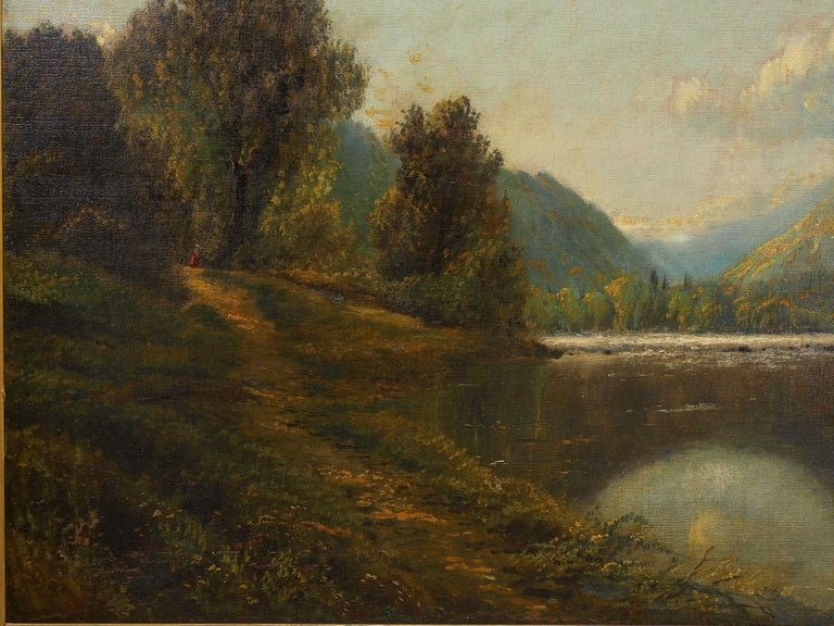 19th Century Large Painting of 'River Landscape' by Edmund Darch Lewis American, 1835-1910 For Sale